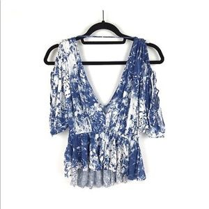 Free People Tops - Free People Blue White Cold Shoulder Top